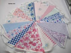 40 feet Handmade Fabric  Bunting Floral Polka Spot & Stripe Shabby & chic