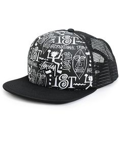 Upgrade any outfit with some ultra fresh style in this black trucker hat that features a Stussy tribe print on the front panel finished with a logo embroidery.