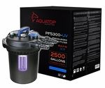 All in one package - canister, pump, pipe, clamps, UVAQUATOP�s PFS300 with built-in UV sterilizer takes ponds keeps to a new level of filtration. Part of the PFS Series, the PF300 not only includes built-in UV Sterilization but includes the SFP65 pump and all the necessary filters and adapters. Extremely efficient, the PF300 pond filter will clean garden ponds with or without pond fish and can be used in commercial or residential settings. Capable of filtering up to 2500 gallons per hour…