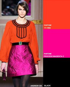 Black accent, process magenta  Fashion Forecast: Key Colour Combos Fall 2014 Winter 2015 #DORLYDESIGNS #Pantone #TrendCouncil