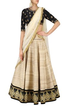 Black and beige pure Tussar silk lehenga set available only at Pernia's Pop Up shop.