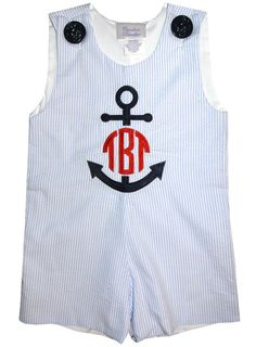 BOY'S MONOGRAM ANCHOR Nautical John John or by ChildrensCottage