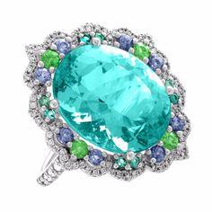 Tourmaline Neon Blue/Green Platinum Ring Diamond Garnet Spinel and Paraiba Acnt