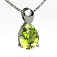 Large Pear Solitaire Pendant, Pear Peridot Sterling Silver Necklace from Gemvara