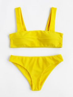 Wide Strap High Leg Bikini Set