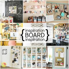 Inspiration Board Inspiration - bulletin board, magnetic board, chicken wire, clothesline, clipboard, cork board, plywood and even a crib spring!