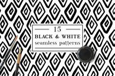 Black & White inky patterns by Maria Galybina on @creativemarket