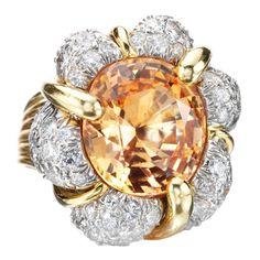 VERDURA A Padparadscha Sapphire and Diamond 'Turban' Ring