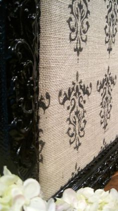 Ornate Damask Burlap Pin Board-Wedding Decoration-Office Organizer $85
