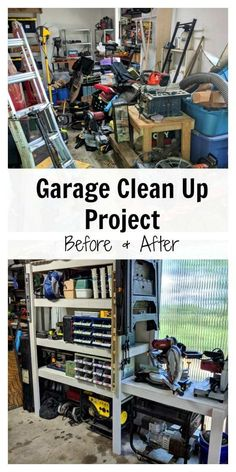 Our Garage Clean Up - Before and After - Modern on Monticello Custom Shelving, Garage Shelving, Shelves, Clean Garage, Diy Garage, Garage Workshop Organization, Diy Organization, Best Cleaning Products, Home Decor Quotes