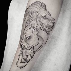 Lions are a symbol of strength and royalty, so if you are wondering how to inspire and awaken your inner strength then a lion tattoo is just for you! Lion Cub Tattoo, Lion And Lioness Tattoo, Lioness Tattoo Design, Lion Tattoo On Thigh, Cubs Tattoo, Lion Tattoo On Back, Inner Forearm Tattoo, Mother Tattoos, Mom Tattoos
