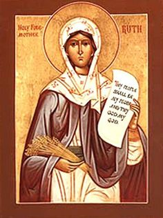 St. Ruth the Righteous  Book of Ruth is the 8th book of the Old Testament of the Bible. A short story, it tells how Ruth (Moabite widow of a Bethlehemite) with her mother-in-law Naomi's assistance, married an older kinsman Boaz, thereby preserving her deceased husband's posterity and becoming an ancestor of King David.  http://www.netplaces.com/saints/the-righteous-of-the-old-testament/ruth-and-naomi.htm
