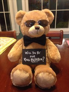 """""""Will you be our ring BEARer?!"""" Made for our nephew!!"""