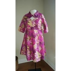 Roses and chrysanthemums in pinks with a hint of purple dance across this lovely dress with three-quarter length sleeves. Lovely Dresses, Plus Size Dresses, Pink Dress, Retro Fashion, Cherry, High Neck Dress, Velvet, Purple, Style
