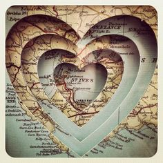 layering maps to focus in on a specific area - world map art wedding gift idea? My Funny Valentine, Valentines, Map Crafts, Map Globe, I Love Heart, Heart Art, Altered Books, Map Art, Mini Albums