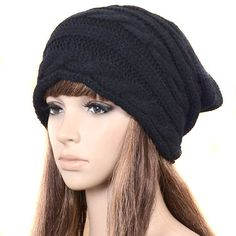 ECOSCO Winter Black Oversized Cable Knit Baggy Beanie Slouch Hat Unisex  Fashion at Amazon Women s Clothing store  Cold Weather Hats 2334a902ad3
