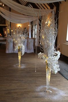White birch branches and orchids