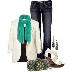 cream blazer, teal scraf, jeans, cute handbag