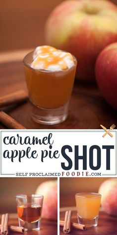 Caramel Apple Pie Shot is an easy cocktail recipe with apple vodka and apple cider. This caramel apple shot is the perfect fall cocktail! No mixing required. Its the perfect party boozy shot. This fall inspired shot tastes just like an apple pie drink! Caramel Apple Shots, Apple Pie Shots, Apple Pie Drink, Caramel Apples, Caramel Pie, Jello Shot Recipes, Alcohol Drink Recipes, Easy Shot Recipes, Fall Drinks Alcohol