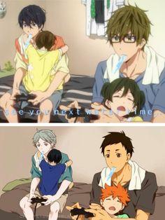 MakoHaru x Daisuga - Free! x Haikyu!! Haru is wearing Mako's shirt!!! Kyaaaa~ <(^__^)/