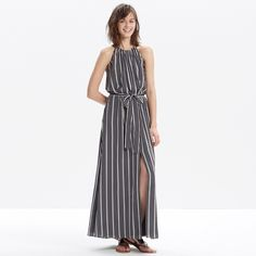 """NEW! Madewell Silk Maxi Dress in Stripe New without tags - never worn. With a gathered neckline that ties in a bow at the back and a removable waist tie, this design is subtly sexy (and perfect for one of those summer weddings to which you just RSVP'd).   •Waisted. •Falls 53 1/4"""" from top of bodice. •Silk. Madewell Dresses Maxi"""