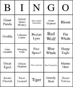 Endangered Species Bingo Card