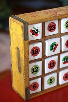 Turn an old Coca-Cola crate into an advent calendar!