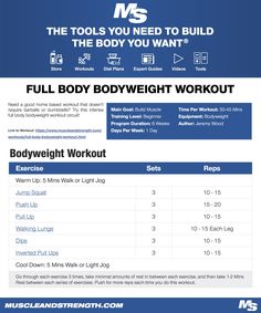 Need a good home based workout that doesn't require barbells or dumbbells? Try this intense full body bodyweight workout circuit! Full Body Bodyweight Workout, Traps Workout, Full Body Weight Workout, Workout Diet Plan, Aerobics Workout, Planet Fitness Workout, Workout Challenge, Workout Circuit, Gym Workouts