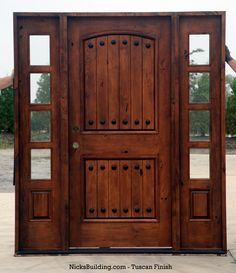 Rustic Tuscany Knotty Alder entry doors with Sidelights