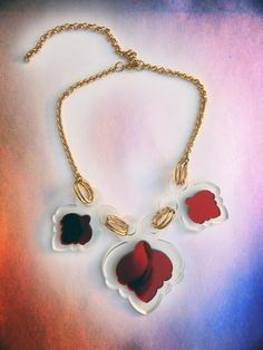 Valentine Necklace...red heart over clear...sdnks