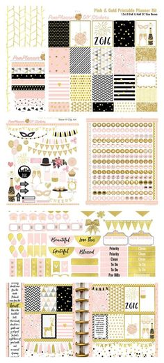 (NEW YEAR)  Pink Gold New Year Printable Planner Kit 5 PDFs, EC or Happy Planner, OVER 300…