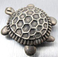 Vintage Sterling SIlver Turtle Pendant Brooch by TonettesTreasures