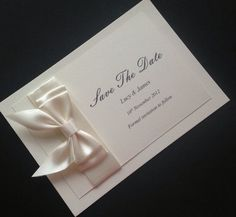 10 Personalised Save The Date Cards With Envelopes Ivory With Cream Ribbon Save The Date Cards, Bliss, Envelope, Ribbon, Dating, Wedding Inspiration, Ivory, Weddings, Ideas