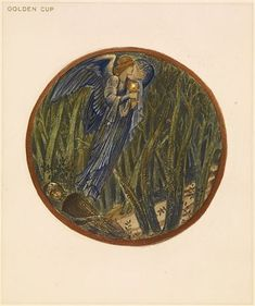 The Flower Book - Golden Cup By Sir Edward Burne-Jones 1905 Circular image. A flying angel carrying a cup, passing a sleeping knight in the wood.