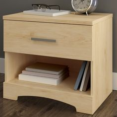 South Shore Gramercy 1 Drawer Nightstand Finish: Natural Maple