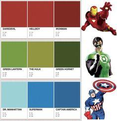 Designer Identifies The PANTONE Colors Of Superheroes : great for little boys rooms! Marvel Bedroom, Marvel Nursery, Avengers Bedroom, Dr Manhattan, Superhero Room, Superhero Classroom, Superhero Cake, Mundo Comic, Room Paint