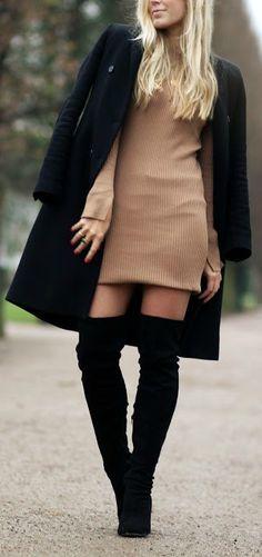 Black + camel sweater dress.