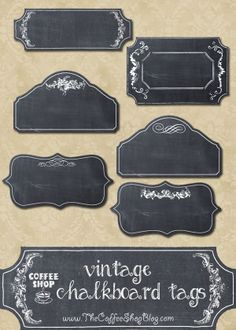 I made these fun, digital chalkboard tags and wanted to share them with you today. These are simple pngs with transparent backgrounds so. Chalkboard Tags, Vintage Chalkboard, Chalkboard Designs, Printable Labels, Free Printables, Printable Vintage, Labels Free, Vintage Coffee Shops, Etiquette Vintage
