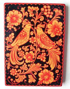Style de Khokhloma peinture sur planche à découper en bois décoratifs cuisine originale traditionnelle russe Art noir jaune rouge Firebirds de deux fleurs