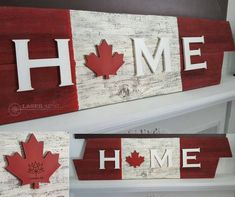 Canada Home Barn Board Sign, Canadian sign, Home gift Barn Board Crafts, Barn Board Signs, Barn Board Projects, Canada Day Fireworks, Canada Day Crafts, Canada Day Party, Wood Crafts, Diy Crafts, Diy Wood