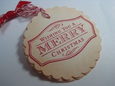 Handmade Vintage Style Gift Tag  Wishing you a Merry by wkburden, $4.95