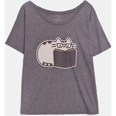 Reading Pusheen ladies relaxed tee ($24) ❤ liked on Polyvore featuring tops, t-shirts, purple tee, purple top, purple t shirt, relax t shirt and relaxed fit t shirt