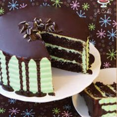 Andes Mint Chocolate Cake- This was super rich but delicious! It really only mad… Andes Mint Chocolate Cake- This was super rich but delicious! It really only made 2 round cakes not 3 (unless you like your layers really small). Menta Chocolate, Chocolate Ganache Cake, Andes Chocolate, Chocolate Chips, Chocolate Pudding, Chocolate Morsels, Delicious Chocolate, Chocolate Ganche, Chocolate Party