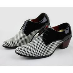 Men Black Dotty Patent Leather High Heel Wedding Prom Dress Shoes SKU-1100111