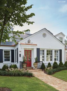 I Love White Houses With Black Shutters Amp A Red Door