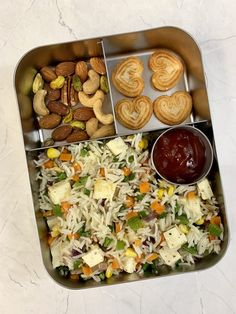 Paneer Fried Rice + Mixed Nuts + Little Heart Biscuit - Indian Veggie Delight - Kids Ideas School Lunch Recipes, Healthy Lunches For Kids, Lunch Box Recipes, Baby Food Recipes, Kids Meals, Snacks Recipes, Veg Recipes, Lunch Ideas, Healthy Snacks