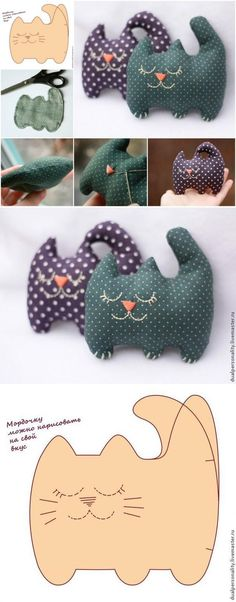 15 Creative sewing cloth cats Tutorial and paper patterns - Rebecca Wolff - - 15 Gatti di stoffa cucito creativo Tutorial e cartamodelli donneinpink magazine: 15 Creative sewing cloth cats Tutorials and paper patterns Felt Crafts, Fabric Crafts, Sewing Crafts, Sewing Projects, Quilting Projects, Sewing Hacks, Sewing Tutorials, Sewing Patterns, Pillow Patterns