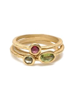 Set Of 3 Pink & Green Tourmaline Rings by Page Sargisson on Gilt.com