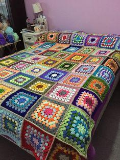 Manta crochet, cuadrados, mucho color!