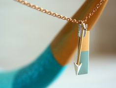 Brass Geometric Rectangle and Arrow Necklace